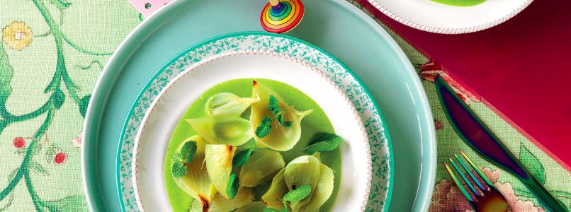 Baked onions, courgette and mint cream recipe