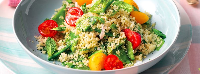 Couscous recipe with snow peas and cherry tomatoes