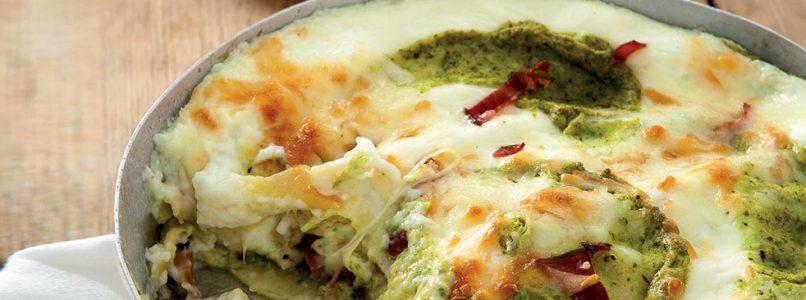 Lasagna recipe with courgette pesto, speck and scamorza