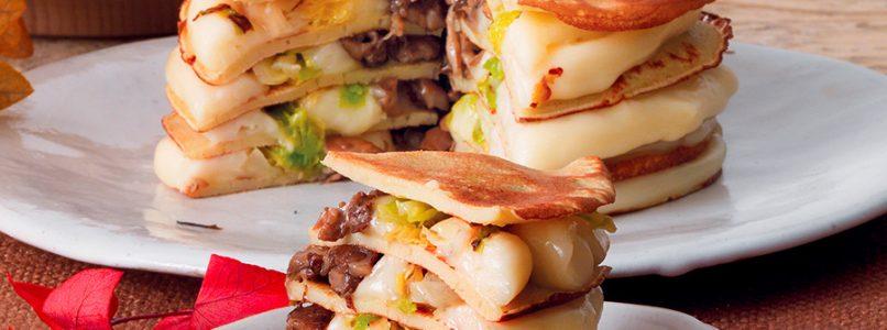 Recipe Crepe cake with buckwheat, taleggio cheese and mushrooms