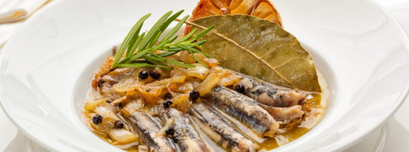 Anchovies in scapece, fried and marinated