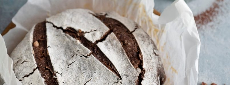 Bread with chocolate and toasted hazelnuts and cocoa