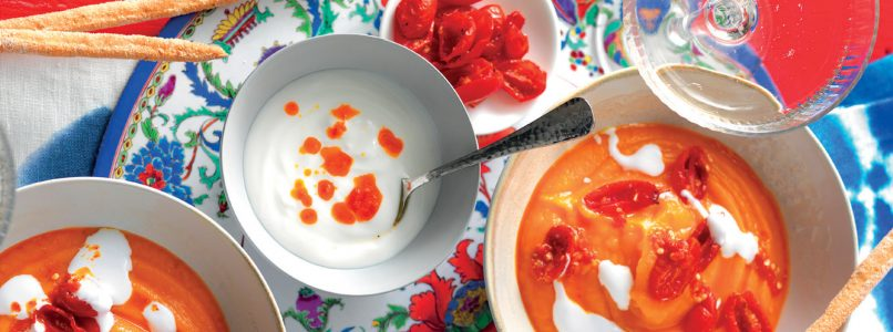 Carrot hummus recipe with yogurt and spicy oil