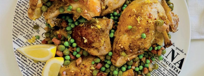 Chicken recipe with crispy skin and peas