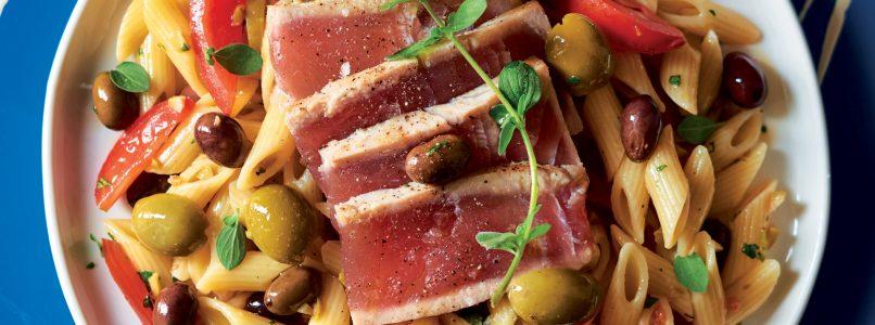 Cold pasta with seared tuna recipe