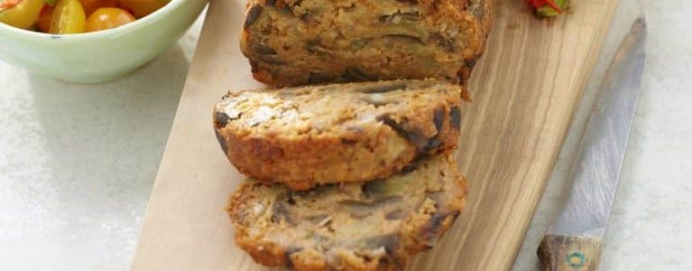 Cook the baked eggplant meatloaf