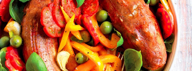 Gallinelle and peppers baked recipe