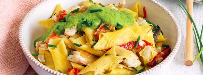 Garganelli recipe with sea bass, tomato and zucchini sauce