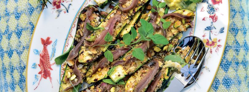 Grilled courgettes, bread and anchovies recipe