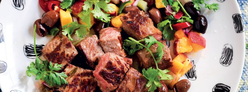 Lamb Sauté recipe with peaches and olives