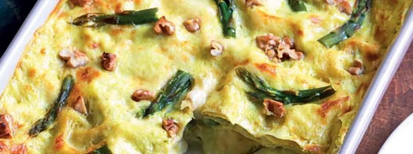 Lasagna recipe with asparagus and Swiss cheeses