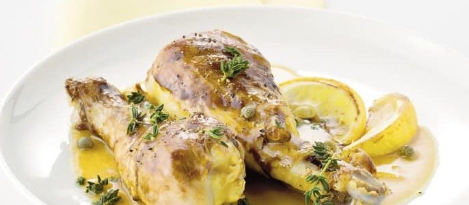 Lemon chicken legs and capers