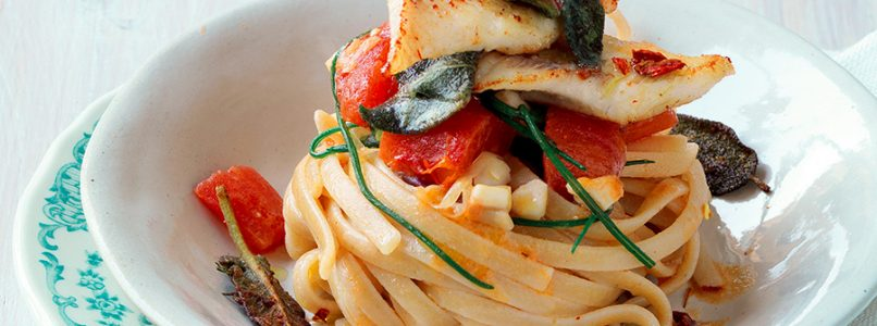 Linguine recipe with perch and friar's beard