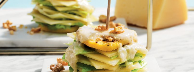 Millefeuille of Montasio recipe, lettuce and polenta