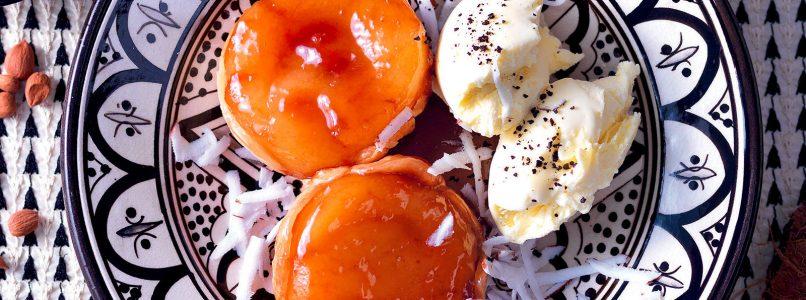 Mini tatin recipe with coconut and bitter almond ice cream