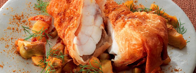 Monkfish recipe fried in phyllo dough