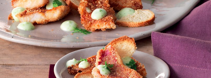 Mullet recipe in hazelnut crust with wasabi mayonnaise