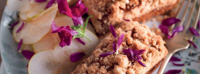 Pear and amaretti plum cake recipe with crumble
