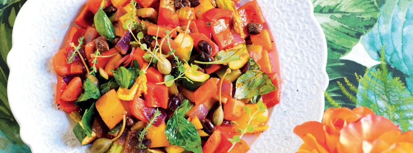 Ratatouille recipe with caper fruits and pumpkin flowers
