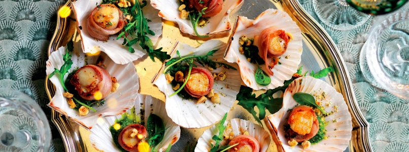 Recipe Bacon scallops, hazelnut pesto and rocket