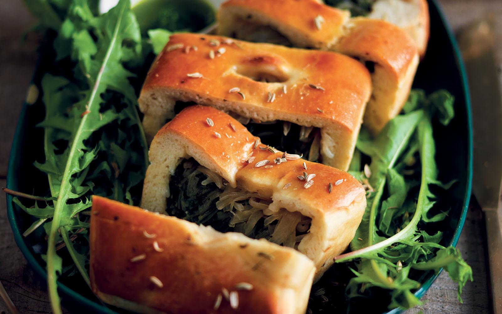 Recipe Bread, dandelion and onion cake