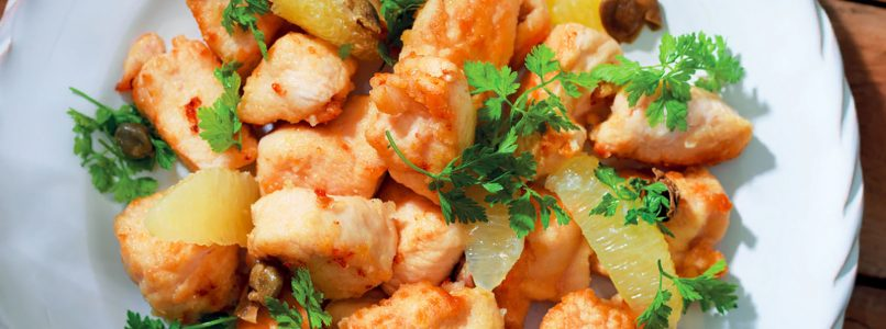Recipe Chicken nuggets with lemon and green pepper