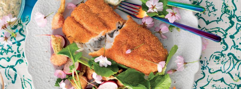 Recipe Fried Atlantic cod and radishes with green mayonnaise
