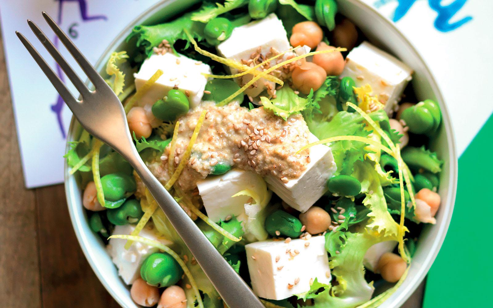 Recipe Legume salad, first salt and sesame sauce