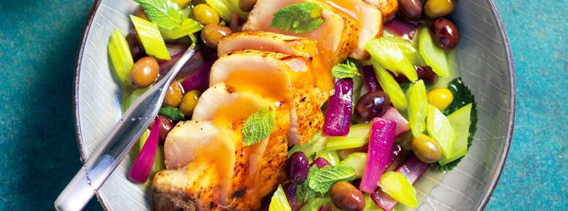 Recipe Mint swordfish and honey with a warm celery salad