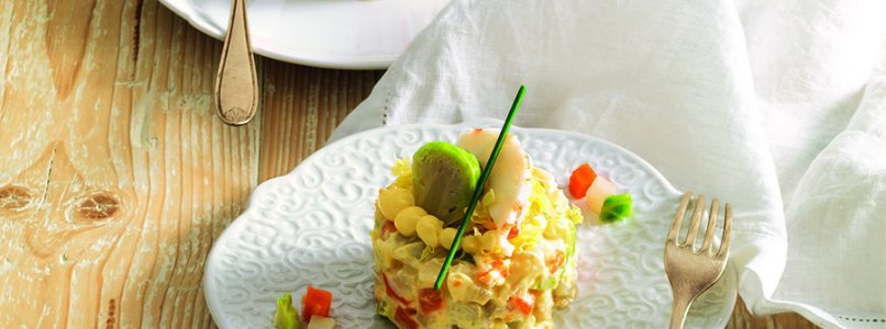 Recipe Russian salad of Brussels sprouts and scampi