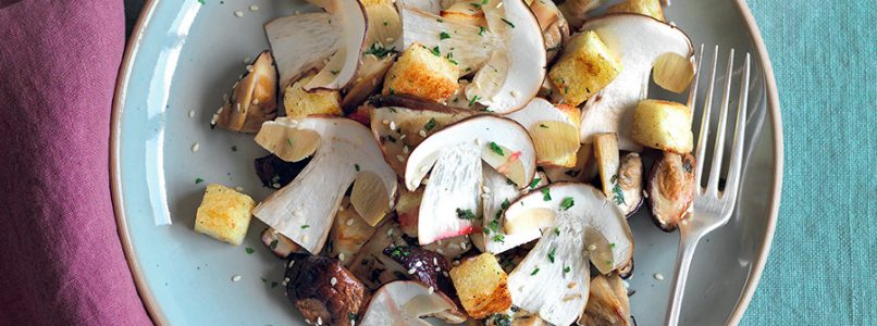 Recipe Salad of cooked and raw porcini mushrooms