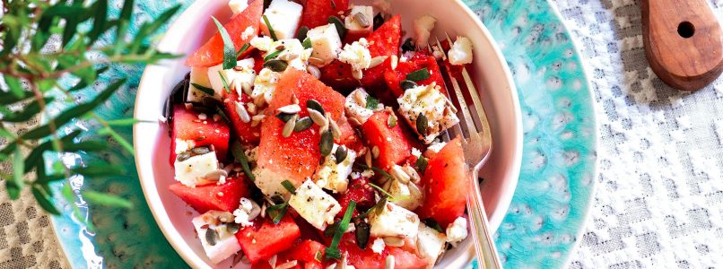 Recipe Salad of watermelon and feta cheese with olive and tarragon pesto