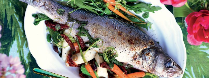 Recipe Sea bass, asparagus, courgettes and baked carrots