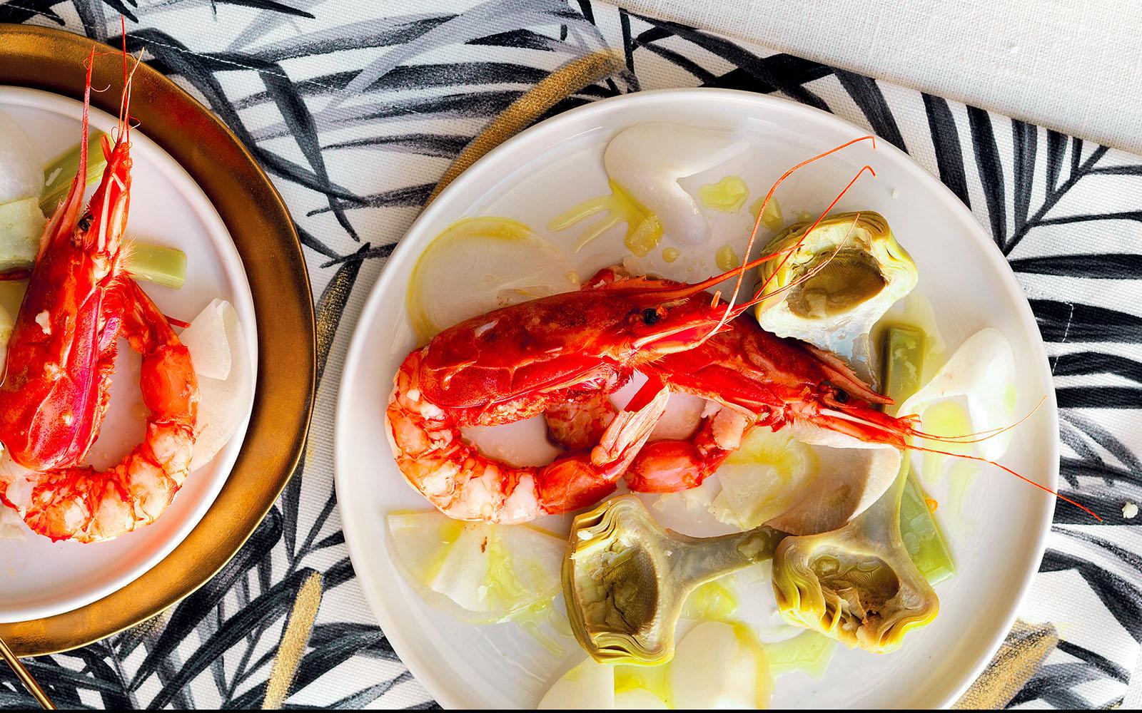 Recipe Shrimp and artichoke salad with turnips and pecorino
