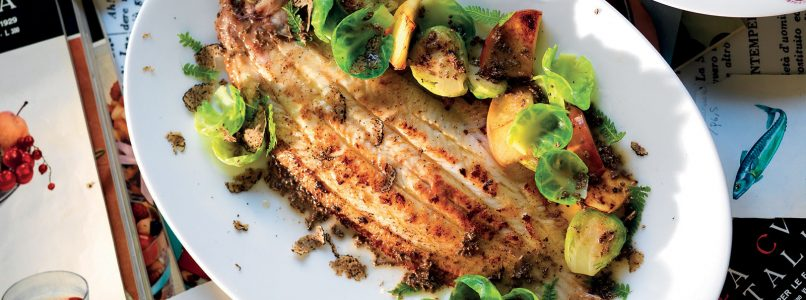 Recipe Sole with butter, truffle, sprouts and red apple
