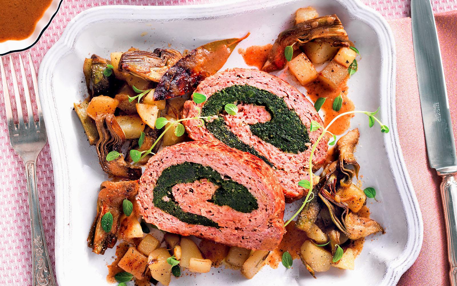 Recipe Stuffed meatloaf, potatoes and artichokes
