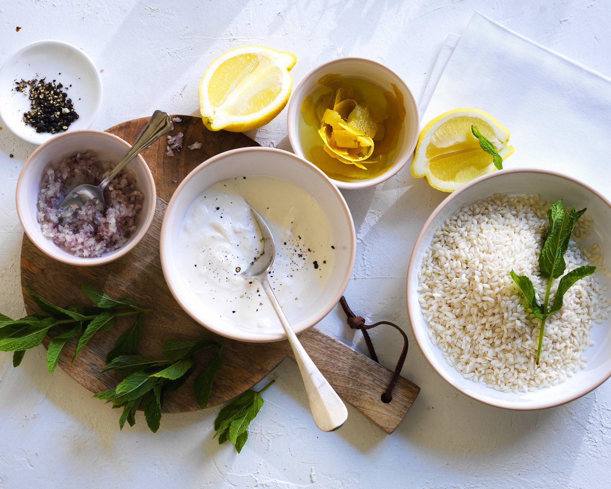 Risotto (in pressure cooker) with Parmesan, stracciatella, lemon and mint