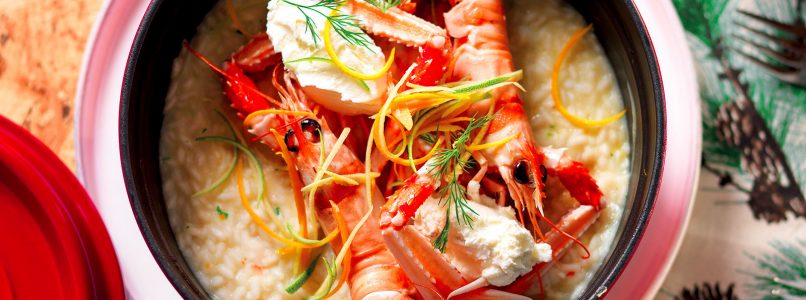 Risotto with scampi and citrus fruit recipe