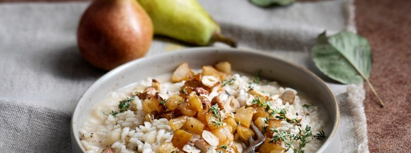 Risotto with taleggio, thyme and hazelnuts and grappa