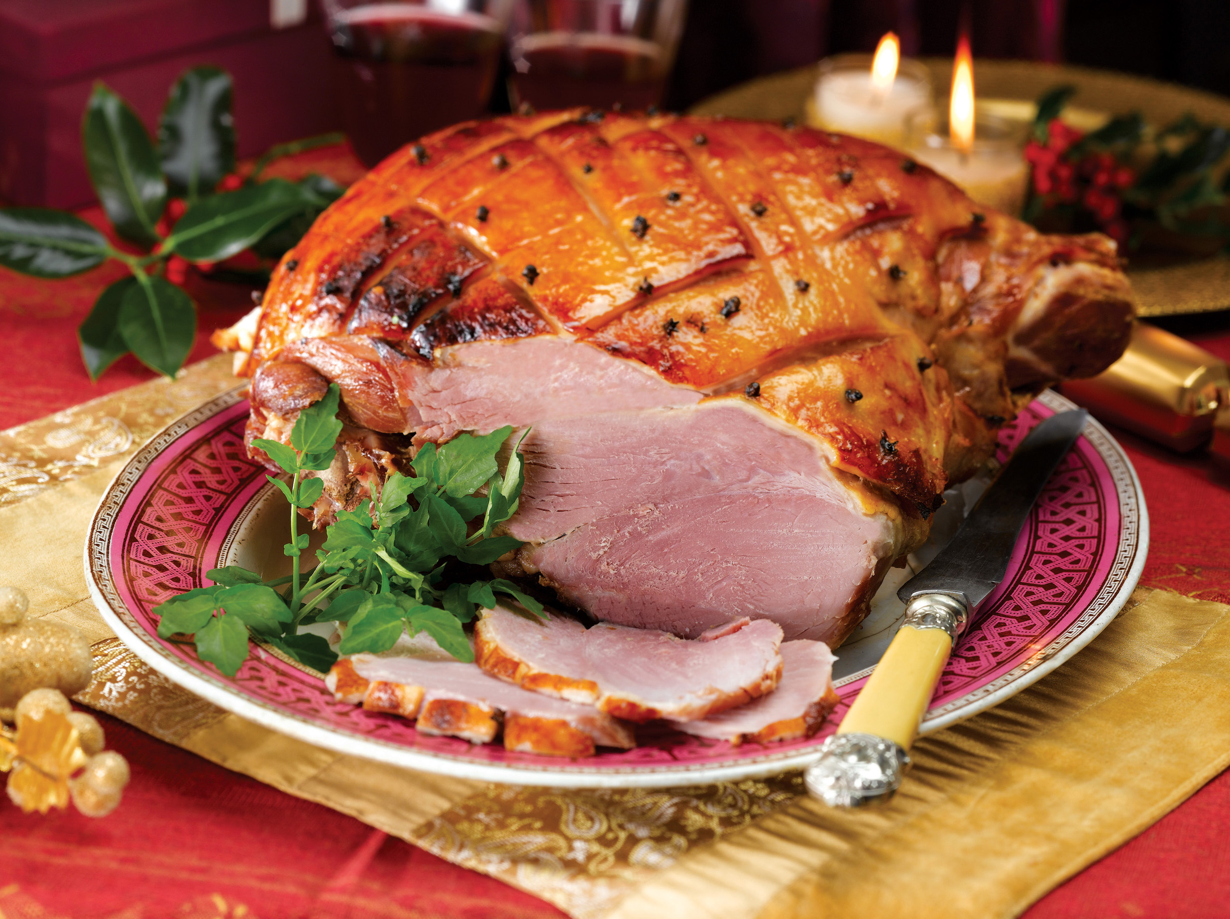 Roast ham with port, orange and currant glaze