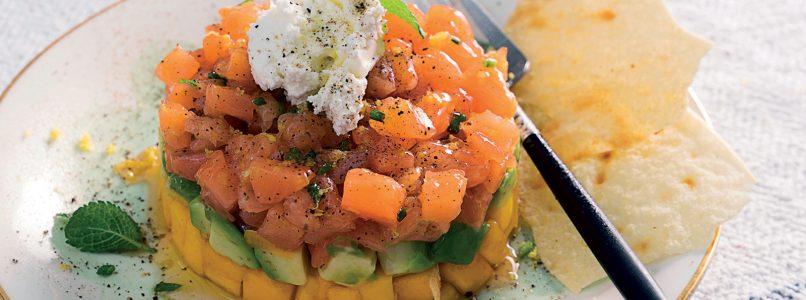 Salmon, avocado and mango tartare recipe