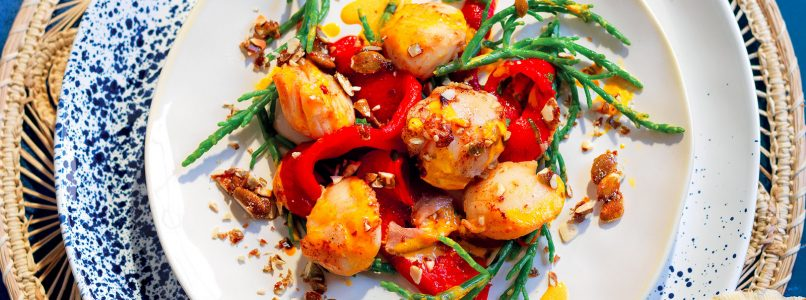 Scallops with ginger peppers recipe