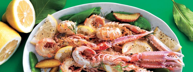 Scampi recipe with potatoes and snow peas