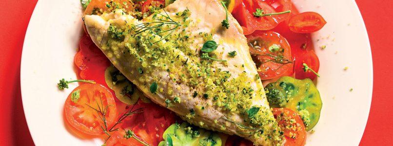 Sea bass and herb crumbs recipe