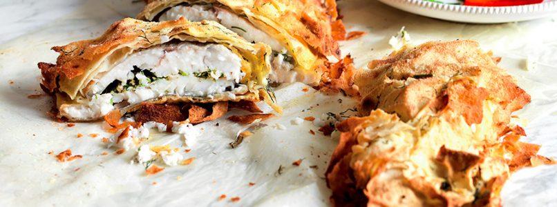 Sea bass recipe wrapped in carasau bread