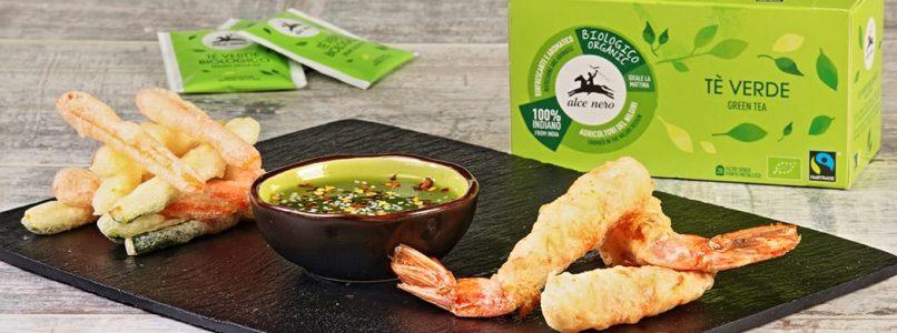 Shrimp and green tea tempura