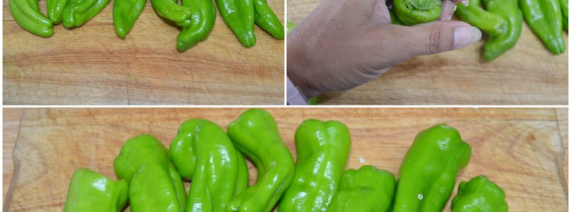 »Skewers of green chillies