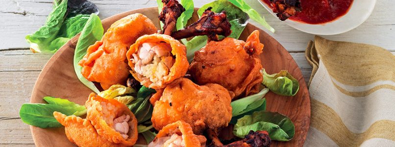 Stuffed wings with spicy sauce recipe