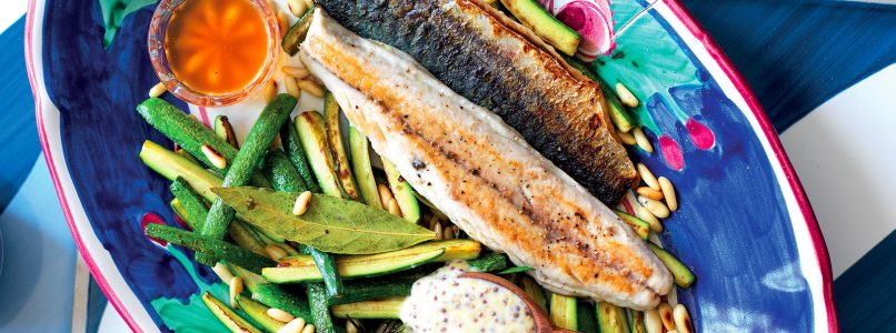 Sweet and sour mackerel and zucchini recipe with mustard sauce