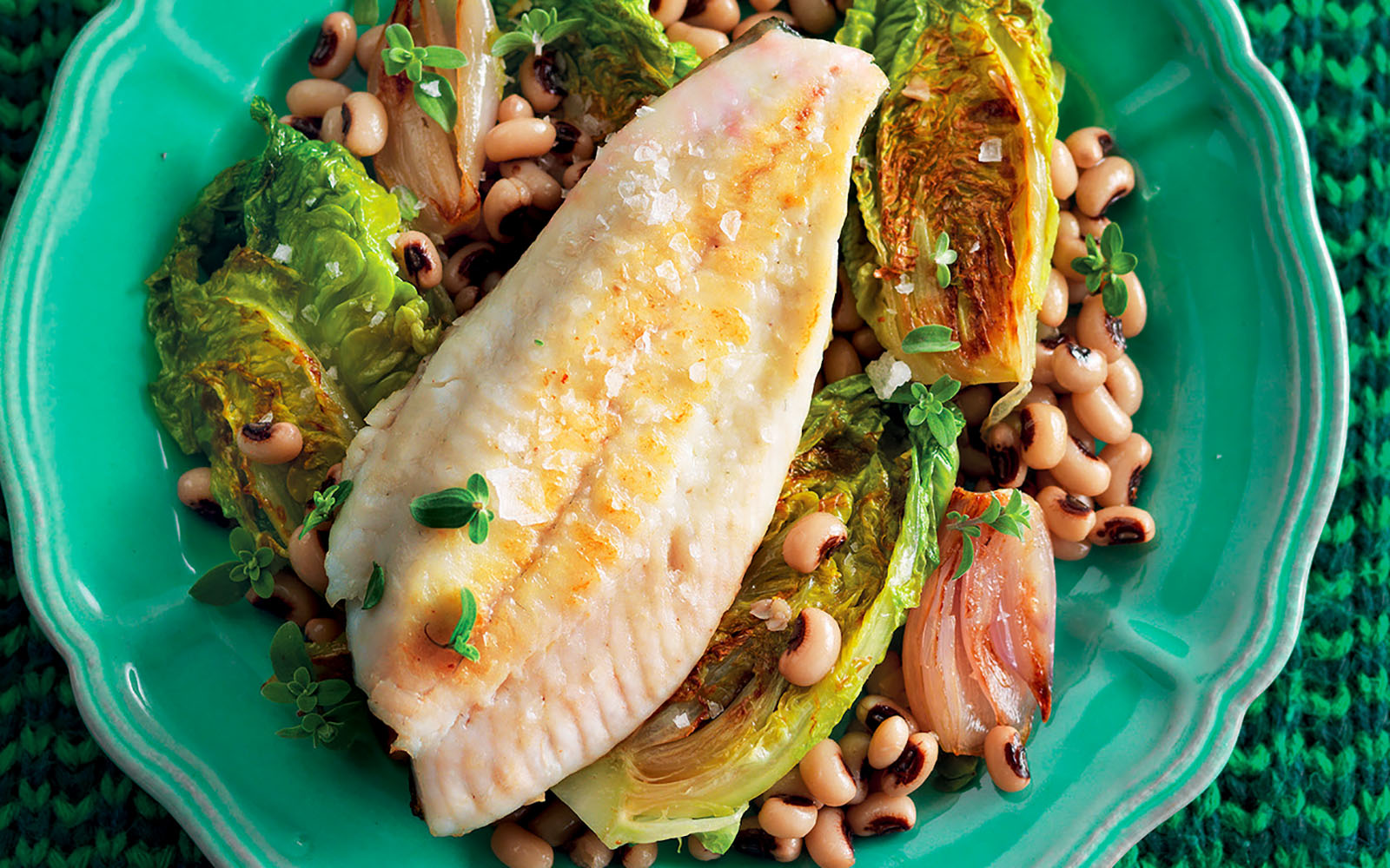 Turbot recipe, beans and lettuce